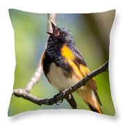 The American Redstart Throw Pillow