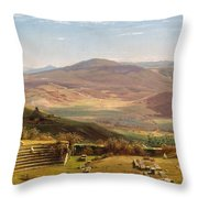 The Amphitheatre Of Tusculum And Albano Mountains. Rome Throw Pillow