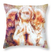 The Angel Prays Throw Pillow