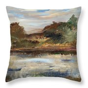 The Angels Camp Frog Pond Throw Pillow