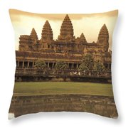The Angkor Wat Temples In Siem Reap Throw Pillow
