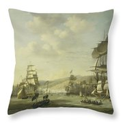 The Anglo Dutch Fleet In The Bay Of Algier Throw Pillow