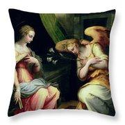 The Annunciation Throw Pillow by Giorgio Vasari