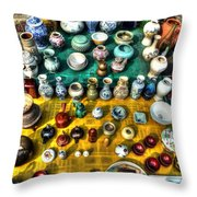 The Antique Market Throw Pillow
