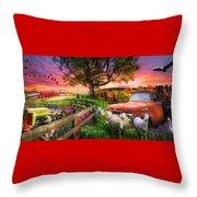 The Appalachian Farm Life In Beautiful Morning Light Throw Pillow
