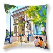 The Arc De Triomphe Paris Throw Pillow