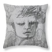 The Archangel Michael By Alice Iordache Original Drawing Throw Pillow