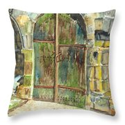 The Archways Of Bandouille 12th Century Monastery Sevres France Throw Pillow