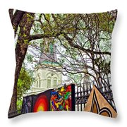 The Art Of Jackson Square Throw Pillow