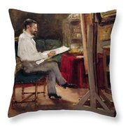 The Artist Morot In His Studio Throw Pillow