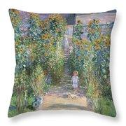 The Artists Garden At Vetheuil Throw Pillow