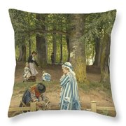 The Artist's Wife And Daughters In A Park At Heringsdorf Throw Pillow
