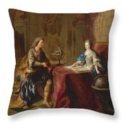The Astronomy Lesson Of The Duchesse Du Maine Throw Pillow