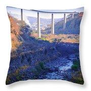 The Atenquique River Passes Under The Highway Bridge Throw Pillow