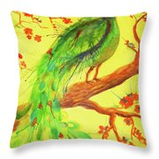 The Auspicious Peacock Throw Pillow