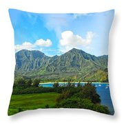 The Backside Of The Napali Coastline Throw Pillow