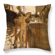 The Balcony, Spain Two Nude Bathers Standing On A Wharf Throw Pillow