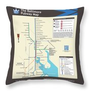The Baltimore Pubway Map Throw Pillow