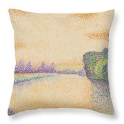 The Banks Of The Marne At Dawn 1888 Throw Pillow