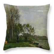 The Banks Of The Oise Throw Pillow