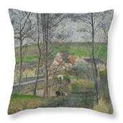 The Banks Of The Viosne At Osny In Grey Weather, Winter Throw Pillow