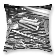 The Barber Shop 10 Bw Throw Pillow by Angelina Vick