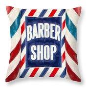 The Barber Shop Throw Pillow