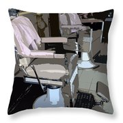 The Barber's Chairs Throw Pillow