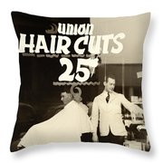 The Barbershop Window Throw Pillow