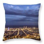 The Barcelona City Skyline, Spain Throw Pillow