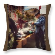 The Bargaining Table - Street Vendors Of New York Throw Pillow