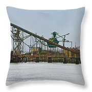 The Barge Waits At Aberdeen Throw Pillow
