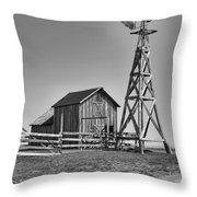 The Barn And Windmill Throw Pillow