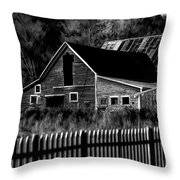 The Barn Bw  Throw Pillow