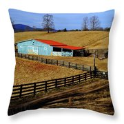 The Barn In Winter Throw Pillow