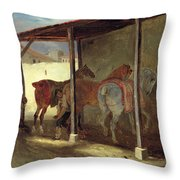 The Barn Of Marechal-ferrant Throw Pillow