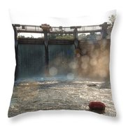 The Barton Lake Dam Throw Pillow