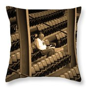The Baseball Fan II Sepia Throw Pillow