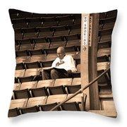 The Baseball Fan Sepia Throw Pillow