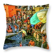 The Bathing Ghats Throw Pillow
