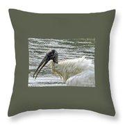 The Bathing Wood Stork 2 Throw Pillow