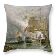 The Battle Of Cape St Vincent Throw Pillow by Richard Bridges Beechey