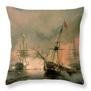 The Battle Of Navarino Throw Pillow by Ivan Konstantinovich Aivazovsky