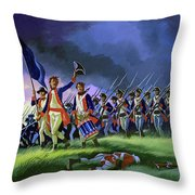 The Battle Of Saratoga, Showing A General Attack Led By Brigadier Arnold Throw Pillow