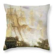 The Battle Of Trafalgar Throw Pillow by John Christian Schetky