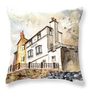 The Bay Hotel In Robin Hoods Bay Throw Pillow