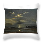 The Bay Of Naples By Moonlight With The Castel Dell'ovo Beyond Throw Pillow