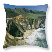 The Beach And Shoreline Along Highway 1 Throw Pillow by Phil Schermeister