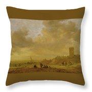 The Beach At Egmond Aan Zee Throw Pillow