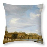 The Beach At Egmond An Zee Throw Pillow by Salomon van Ruysdael